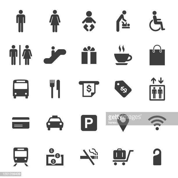 public and shopping mall icons set - bathroom stock illustrations