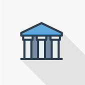 public bank building, university or museum, classic greek architecture thin line flat icon. Linear vector symbol colorful long shadow design.