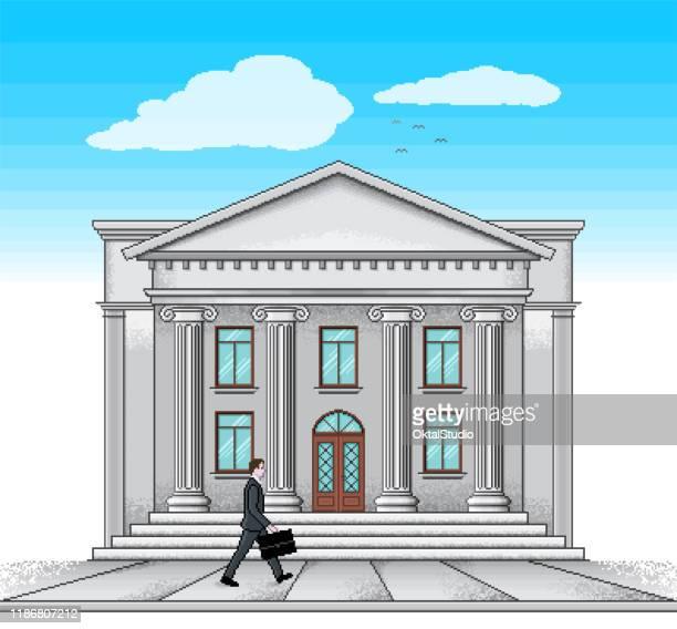 public building in pixel art style - pediment stock illustrations, clip art, cartoons, & icons