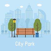 Public City Park Vector Illustration