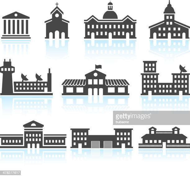 öffentliche commercial real estate gebäude & icons set in schwarz und weiß - gewerbeimmobilie stock-grafiken, -clipart, -cartoons und -symbole