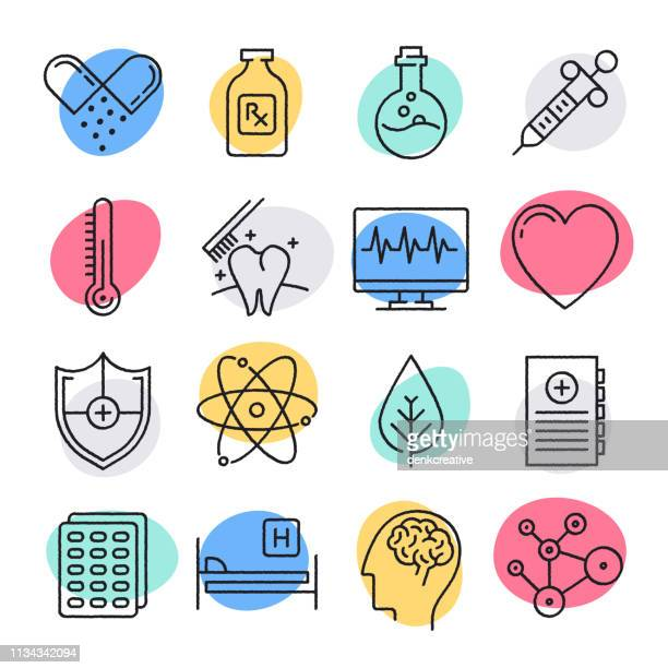 public health challenges doodle style vector icon set - medical exam stock illustrations