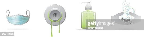 public health icons - hand sanitizer stock illustrations
