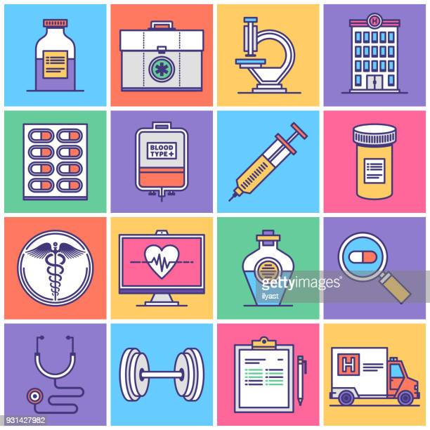 illustrations, cliparts, dessins animés et icônes de système de santé public icon set - mode de vie sain