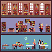 Public library banners concept with different students reading books