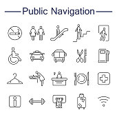 Public Navigation Signs Icons.