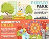 Public park, amusement park flat illustration concepts set