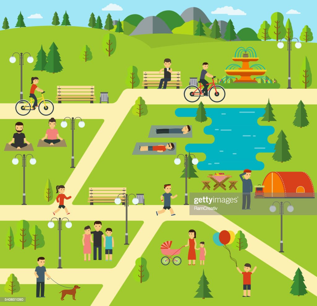 Public park, Camping in the park, picnic, biking