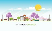 Public park in Spring Season. Vector Flat illustration.