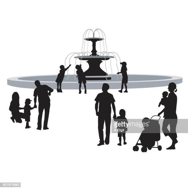 public park - fountain stock illustrations, clip art, cartoons, & icons