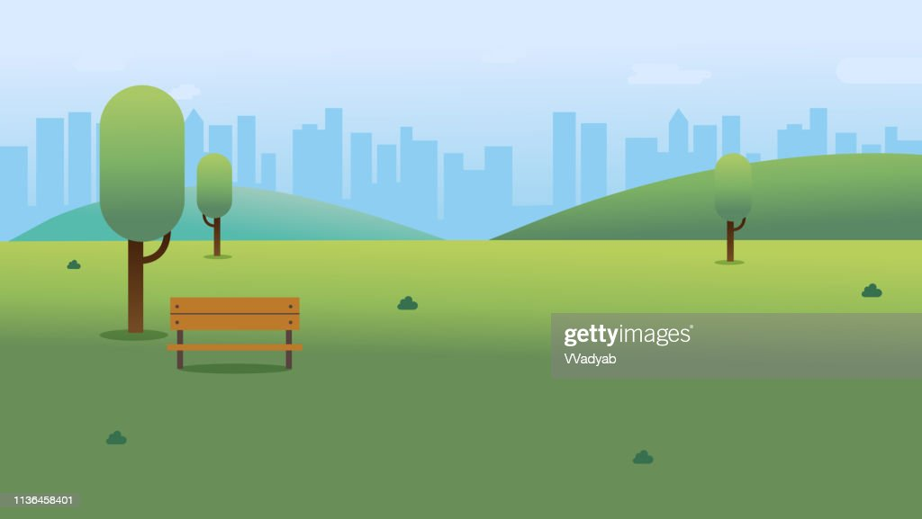 Public park with bench in city with sky and cityscape background.Beautiful nature scene with town and hill.Clean spring scenery. Vector illustration
