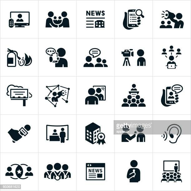 public relations icons - announcement message stock illustrations