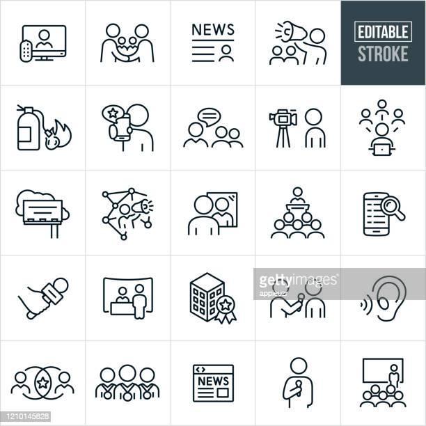 public relations thin line icons - editable stroke - publikum stock-grafiken, -clipart, -cartoons und -symbole