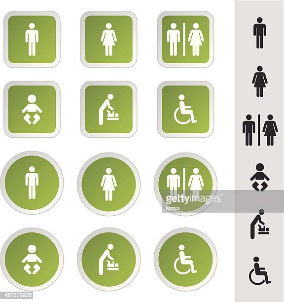 public & rest room icons set - toilet sign stock illustrations, clip art, cartoons, & icons