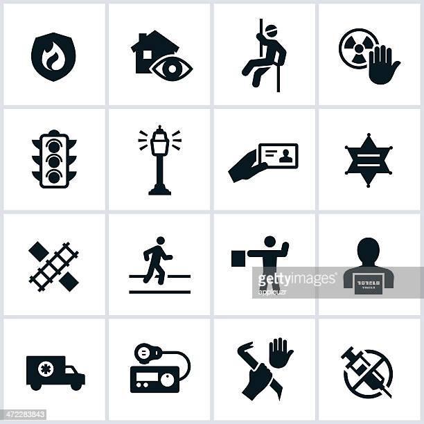 illustrations, cliparts, dessins animés et icônes de icônes de sécurité publique - permis de conduire