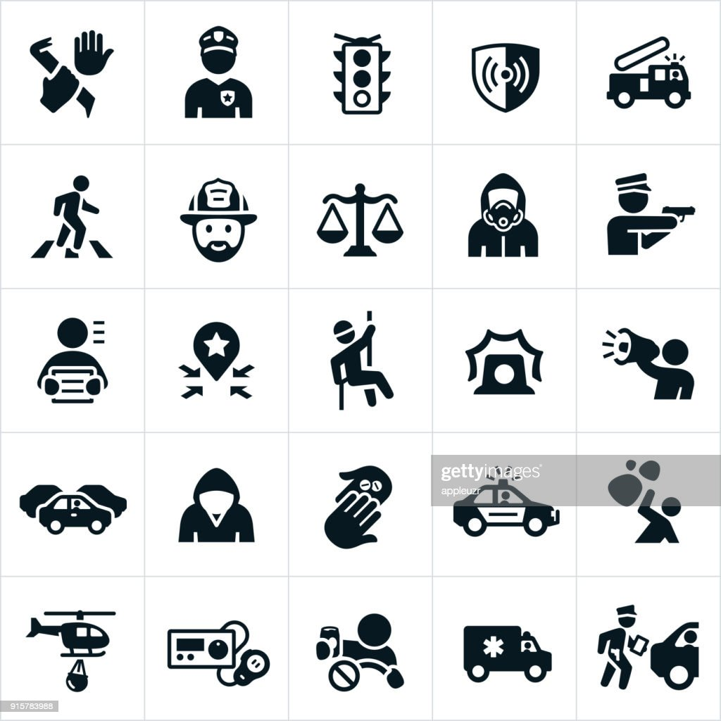public safety icons vector art getty images