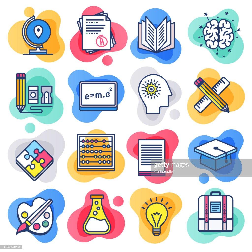 Educación de la escuela pública de línea plana vector de estilo líquido icono conjunto : Ilustración de stock