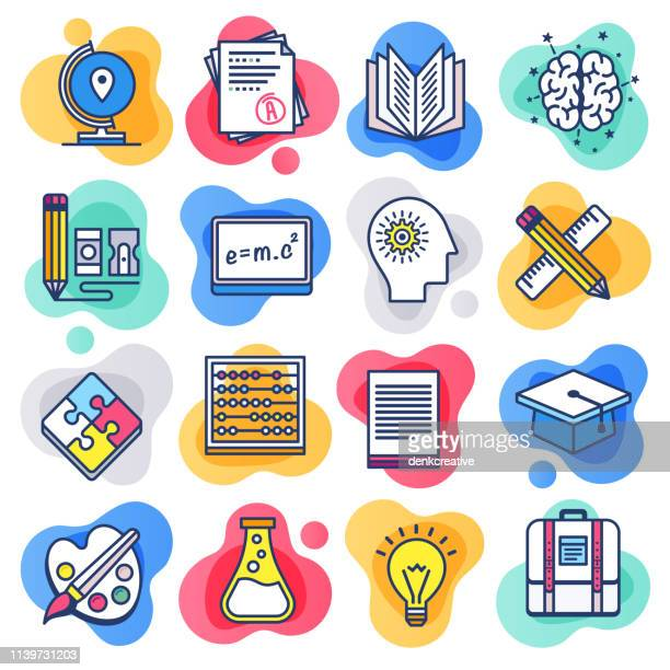public school education flat line liquid style vector icon set - library stock illustrations