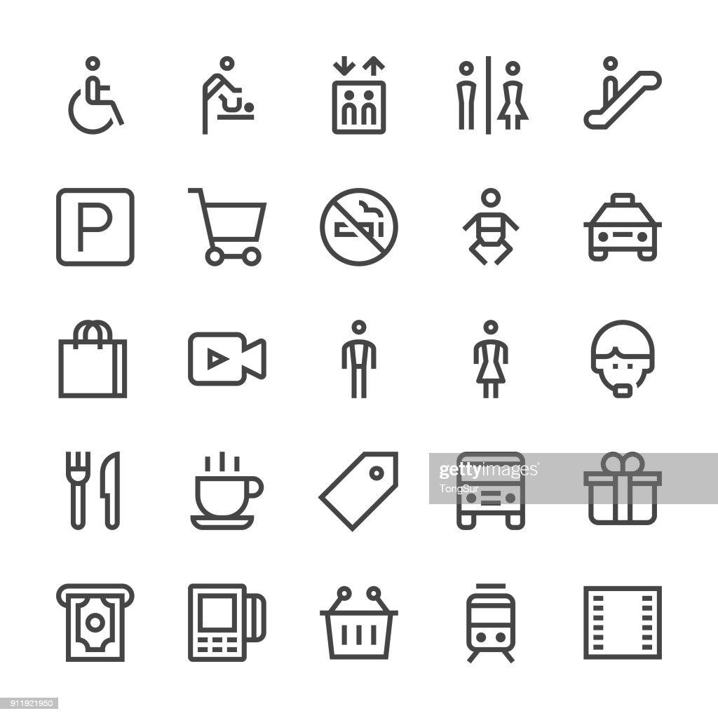 Public & Shopping Mall Icons - MediumX Line : stock illustration