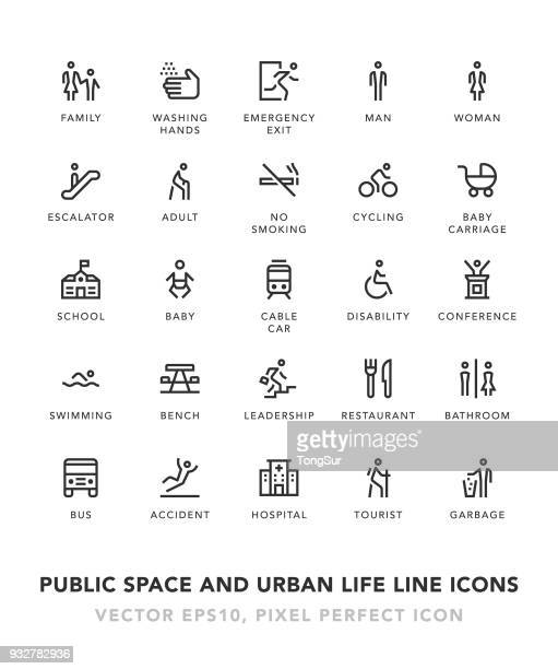 public space and urban life line icons - information symbol stock illustrations, clip art, cartoons, & icons