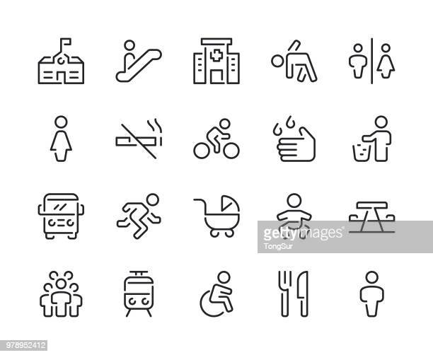public space and urban life line icons - escalator stock illustrations, clip art, cartoons, & icons