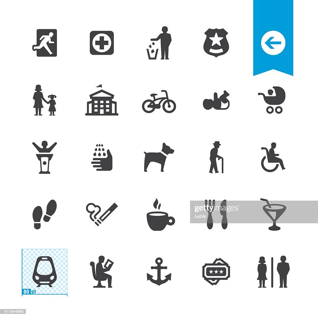 Public Space and Urban life vector icons : stock illustration