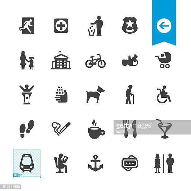 Public Space and Urban life vector icons