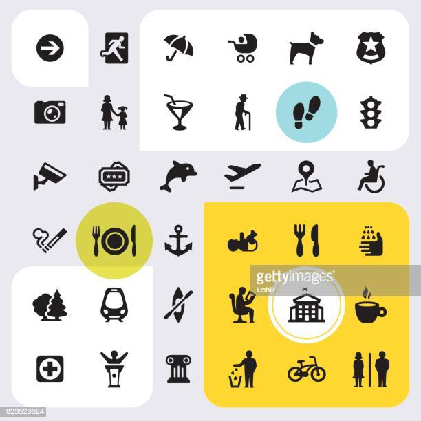 public space - icon set - pedestrian zone stock illustrations