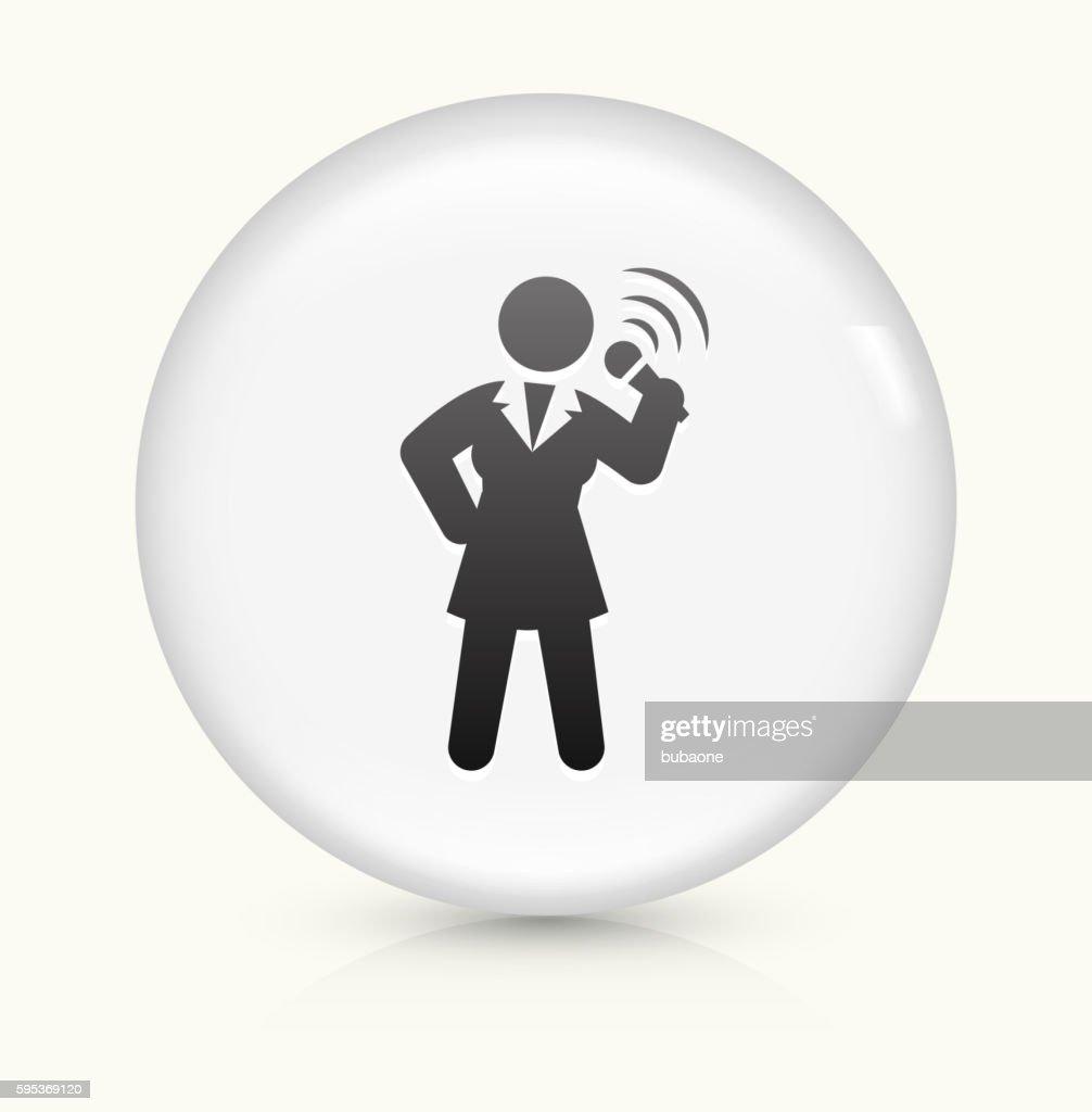 Public Speaking icon on white round vector button