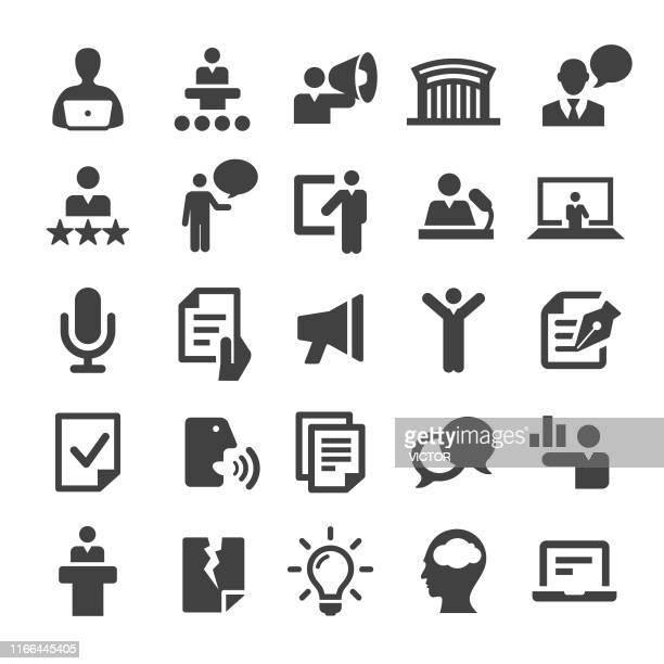public speaking icons - smart series - political rally stock illustrations