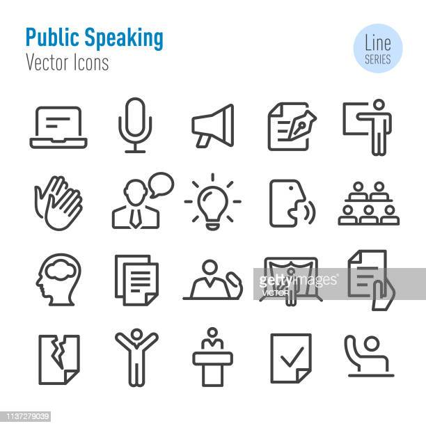 public speaking icons - vector line series - announcement message stock illustrations