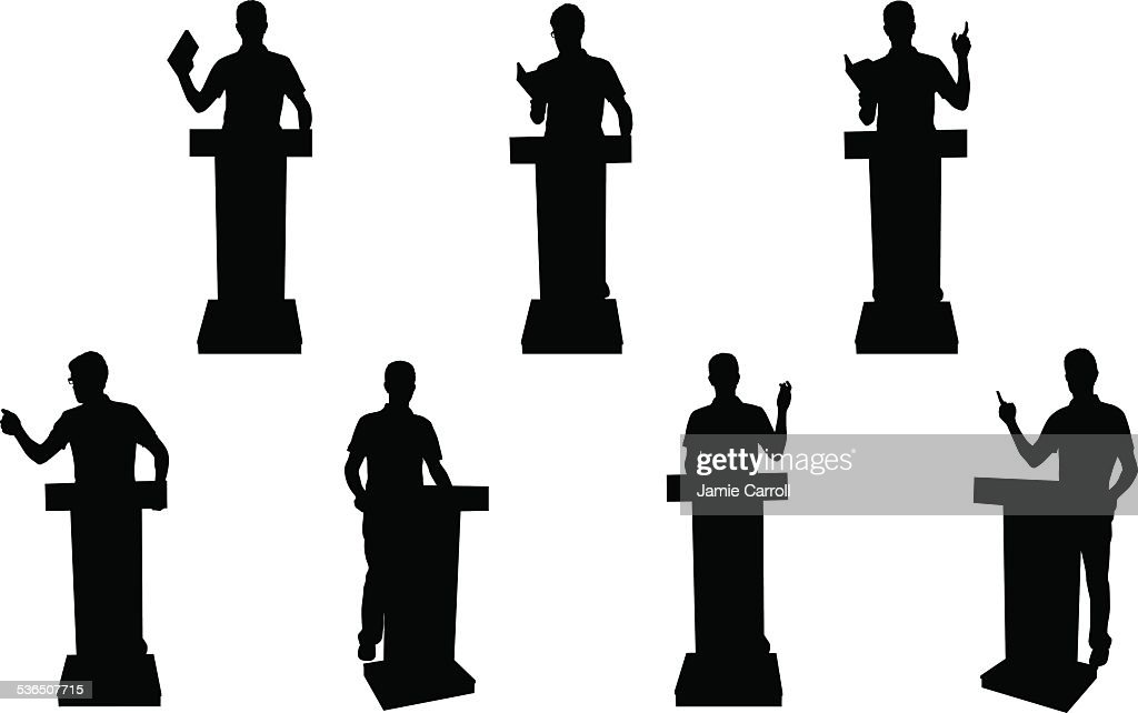 Public speaking silhouettes : stock illustration