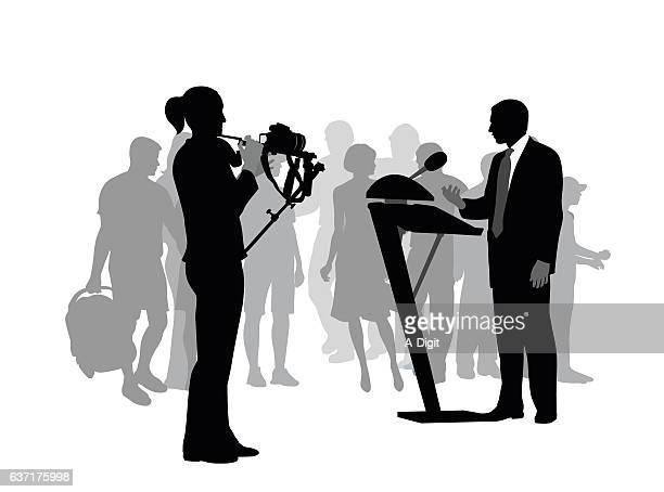 public speaking talent - film crew stock illustrations