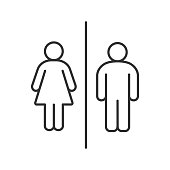Public toilet information sign icon