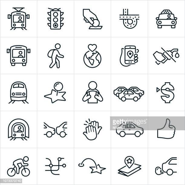 public transit icons - traffic stock illustrations
