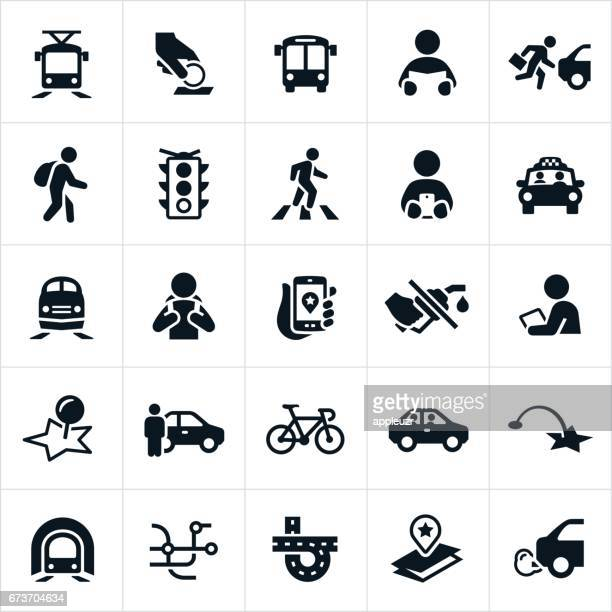public transit icons - stoplight stock illustrations