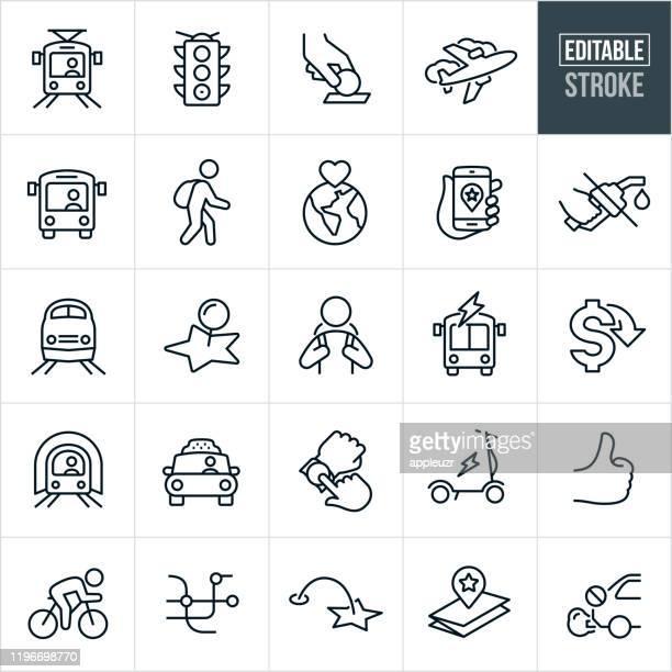 public transit thin line icons - editable stroke - public transport stock illustrations