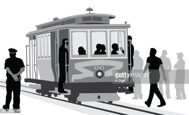 公共交通機関のトラム - 乗り物に乗って点のイラスト素材/クリップアート素材/マンガ素材/アイコン素材