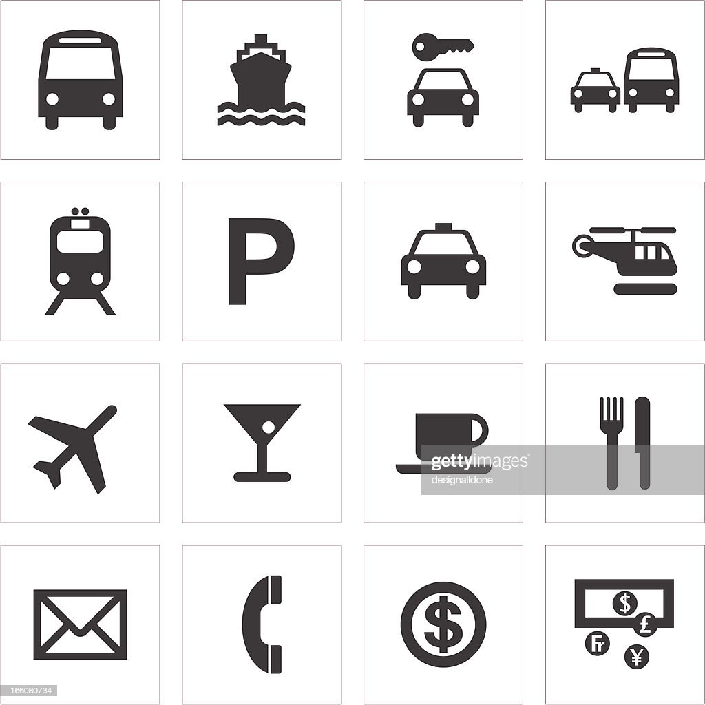 Public Transport And Travel Icons : stock illustration