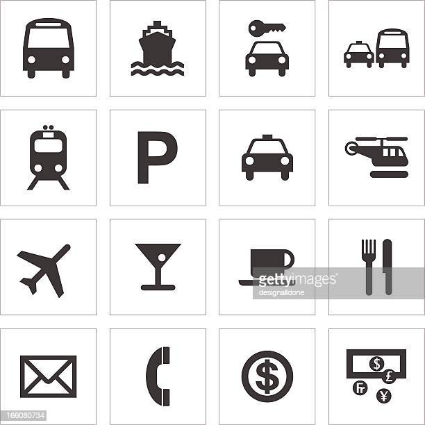 public transport and travel icons - taxi stock illustrations, clip art, cartoons, & icons