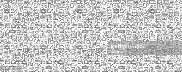 public transport seamless pattern and background with line icons - public transportation stock illustrations