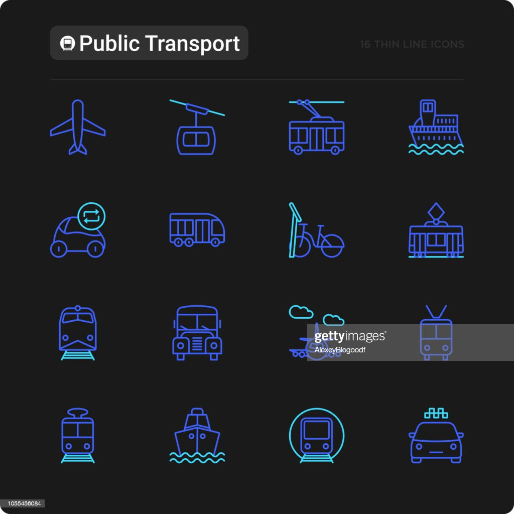 Public transport thin line icons set: train, bus, taxi, ship, ferry, trolleybus, tram, car sharing. Front and side view. Modern vector illustration for black theme.