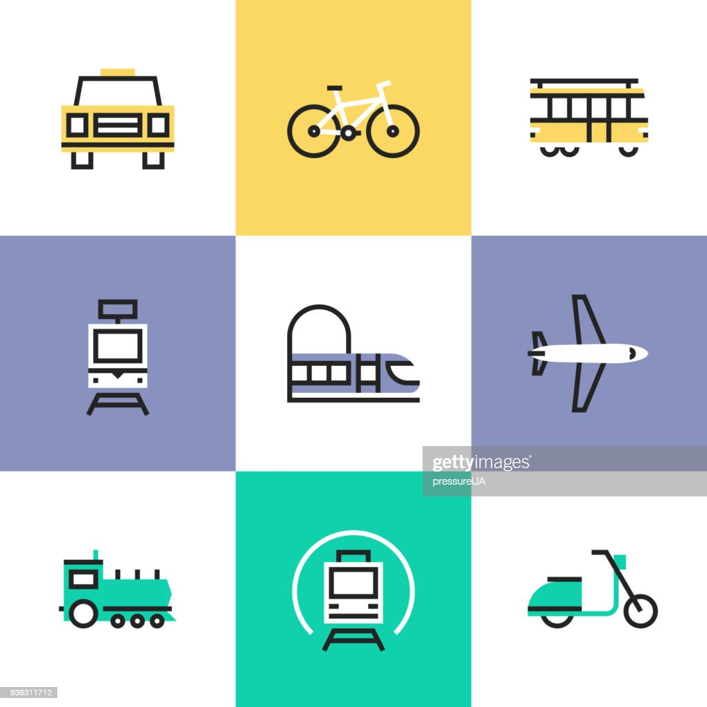 Public transportation pictogram icons set