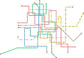Public transportation, subway map, fictional vector art