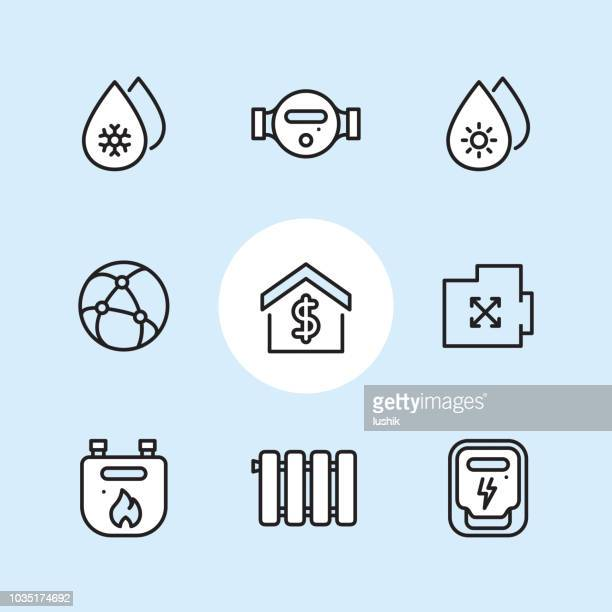 public utilities and meters - outline icon set - water meter stock illustrations, clip art, cartoons, & icons