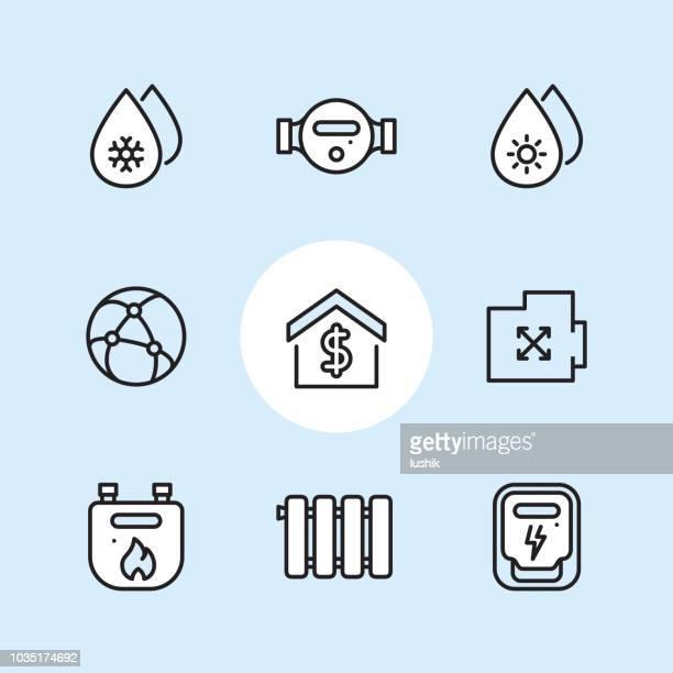 ilustrações, clipart, desenhos animados e ícones de serviços públicos e medidores - conjunto de ícones de contorno - water meter