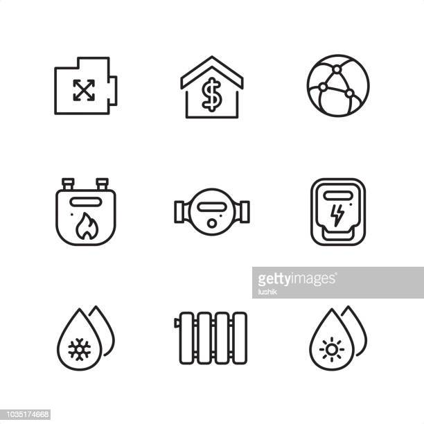 public utilities and supply meters - pixel perfect outline icons - water meter stock illustrations, clip art, cartoons, & icons