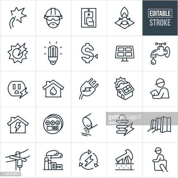 bildbanksillustrationer, clip art samt tecknat material och ikoner med public utilities tunna linje ikoner-ediatable stroke - energiproduktion
