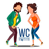 Public WC Sign Vector. Door Plate Design Element. Man, Woman. Bathroom Symbols. Isolated Cartoon Illustration