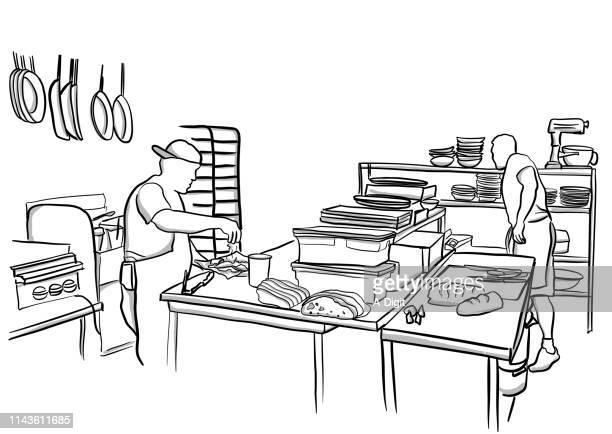 パブのキッチン - ファイルトレイ点のイラスト素材/クリップアート素材/マンガ素材/アイコン素材